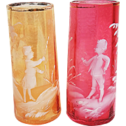 "Vintage Pair of Victorian Marry Gregory 1900's Hand Painted & Enameled ""Boy & Girl"" 4"" Cranberry & Peach Scenic Vases"