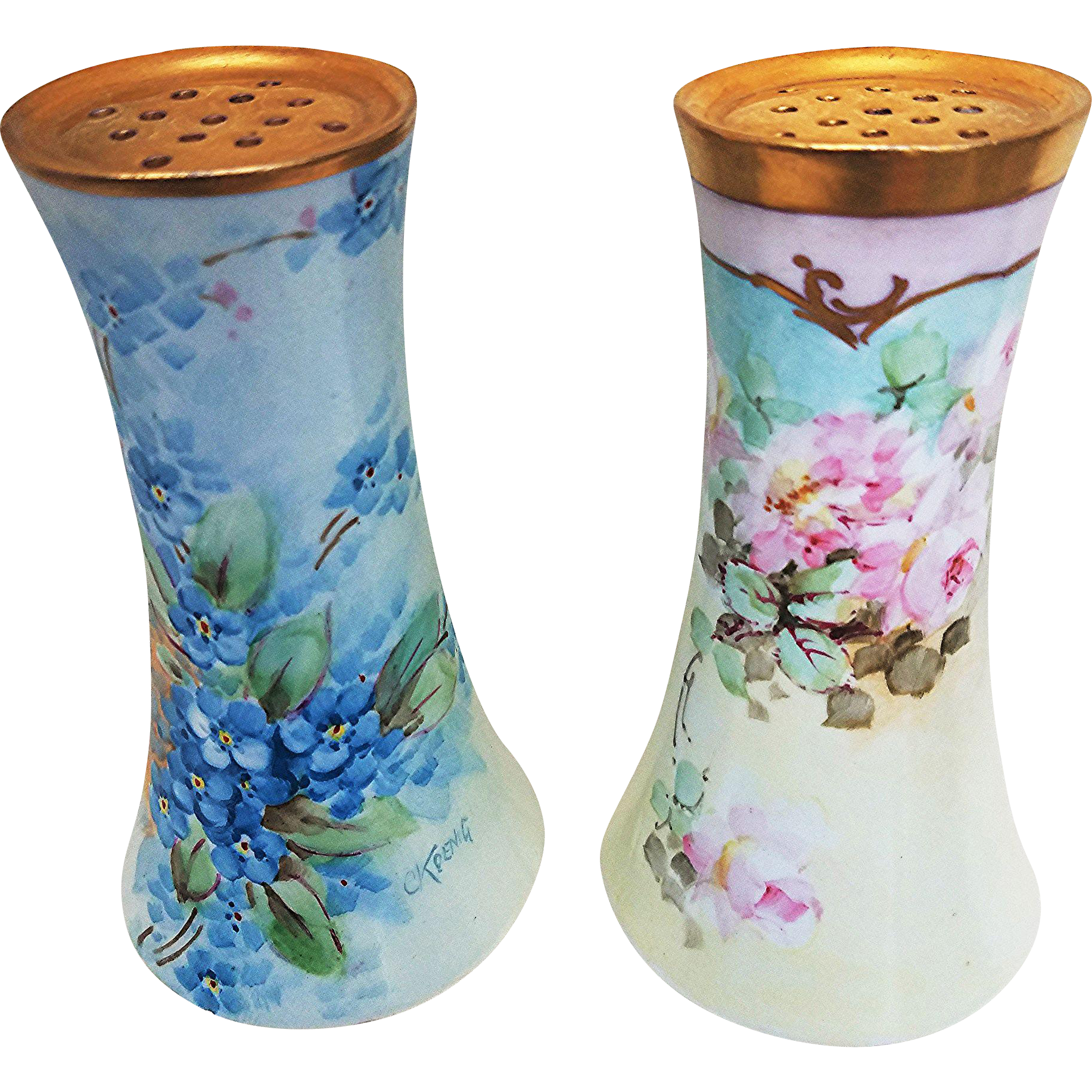 "Beautiful O.E. & G Royal Austria 1900's Hand Painted ""Forget Me Not"" Floral Sugar Shaker by Pickard Artist, ""Carl Koenig"""
