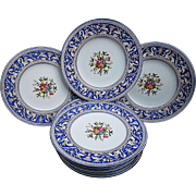 "Beautiful Wedgewood Pre-1900 Hand Painted ""Dragons & Wild Flowers"" Set of Eleven 8"" Turquoise Florentine Salad Plates"