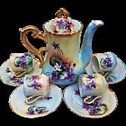 """Gorgeous Vintage Bavaria 1900's Hand Painted Vibrant """"Violets"""" 10 Pc Floral Chocolate Set"""