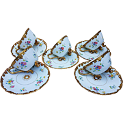 "Gorgeous Vintage T & V Limoges France 1900's Hand Painted Match Set of 5 Rococo Style ""Wild Flowers"" Footed Cups & Saucers"