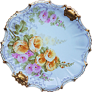 "Attractive LDBC Flambeau Limoges France 1900 Hand Painted ""Pink & Yellow Morning Glory"" 9-1/2"" Floral Plate by the French Artist, ""Baiz"""