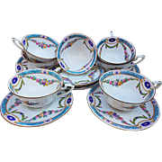 "Royal Worcester 1891 Set of 7 Hand Painted ""Chain of Petite Pink, Lavender, & Yellow Enamel Roses"" Floral Cups & Saucers"