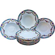 """Royal Worcester 1891 Set of 8 Hand Painted """"Chain of Petite Pink, Lavender, & Yellow Enamel Roses"""" Floral Soup Bowls"""
