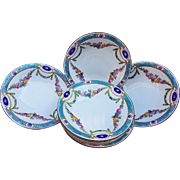 "Royal Worcester 1891 Set of 7 Hand Painted ""Chain of Petite Pink, Lavender, & Yellow Enamel Roses"" Floral Berry Bowls"