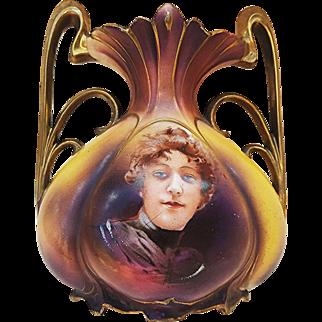 """RS Prussia 1900's """"Flossie"""" Portrait 7-1/4"""" Pillow Vase"""