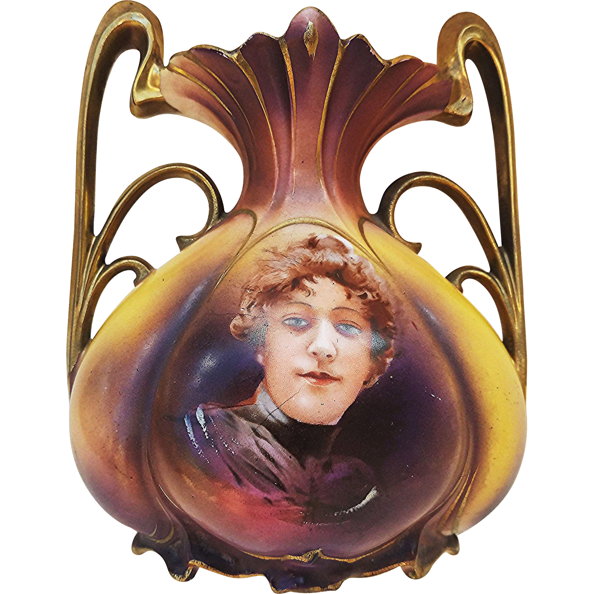 "RS Prussia 1900's ""Flossie"" Portrait 7-1/4"" Pillow Vase"