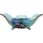 "Vintage Vienna Austria 1900's Hand Painted ""Red & Pink Roses"" 7"" Flared & Scallop 4-Footed Floral Bowl by the Artist, ""McHarg"""