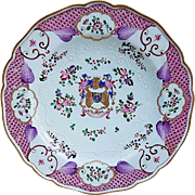 "Vintage Samson France Porcelain 1880's Hand Painted ""Coat of Arms & Mixed Flowers"" with Heavy Enamel Beading 9-1/4"" Plate"