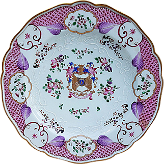 """Vintage Samson France Porcelain 1880's Hand Painted """"Coat of Arms & Mixed Flowers"""" with Heavy Enamel Beading 9-1/4"""" Plate"""