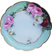 "12-1/2"" Gorgeous Vintage Limoges France 1900's Hand Painted Vibrant ""Red, Pink, & White Roses"", With Beautiful Teal Background, Floral Charger"