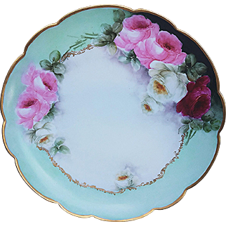 """12-1/2"""" Gorgeous Vintage Limoges France 1900's Hand Painted Vibrant """"Red, Pink, & White Roses"""", With Beautiful Teal Background, Floral Charger"""