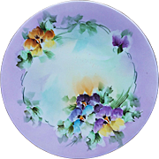 """Beautiful Bavaria 1900's Hand Painted """"Purple, Yellow, Blue, & Burnt Orange Pansy"""" Floral Plate by Artist, """"M. Dorresery"""""""