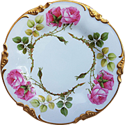 """Gorgeous Vintage J.P.L. Limoges France 1900's Hand Painted """"Red Roses"""" Floral Plate"""