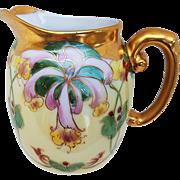 "Vintage T & V Limoges France 1900's Hand Painted ""Red & Pink Orchids"" Floral Cream Pitcher by Julius Brauer Artist, ""M. Bonn"""