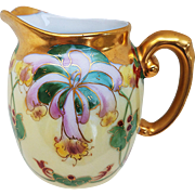 "Vintage T & V Limoges France 1900's Hand Painted ""Red & Pink Orchids"" Floral Cream Pitcher by Julius Brauer Artist, ""M. Bonn"""