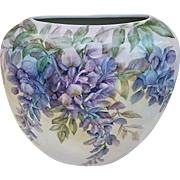 "Gorgeous Bavaria Hand Painted ""Wisteria"" 8-7/8"" Floral Vase Artist Signed"