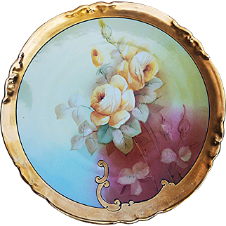 """Gorgeous AKD France Limoges & E.W. Donath Studio of Chicago 1900's Hand Painted """"Yellow Roses"""" 8-3/4"""" Floral Plate by Listed Artist, """"M. Rost LeRoy"""""""