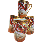 "Beautiful Vintage TK Czechoslovakia & Osborne Art Studio of Chicago 1920's Hand Painted ""Burnt Orange Poppy"" Set of 4 Tall Floral Tankard Cups"