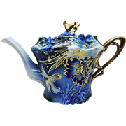"Exquisite & Scarce RS Prussia 1900 Cobalt Blue, With Blown Out ""Carnations"", 8-1/4"" Long Tea Pot"