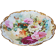 """Fabulous Vintage J.P.L. France Limoges 1900's Hand Painted Vibrant """"Red, Pink, & White Roses"""" 9-1/2"""" Floral Bowl"""