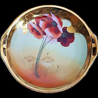"""Gorgeous Bavaria & Osborne Art Studio of Chicago 1914 Hand Painted Vibrant """"Burnt Orange Poppy"""" 10-3/4"""" Floral Plate by the Artist """"Asbjorn Osborne"""""""