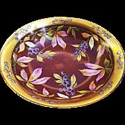 "Exceptional Vintage Limoges France & Julius Brauer Studio of Chicago 1905 Hand Painted ""Grapes"" 10"" Fruit Decor Bowl"