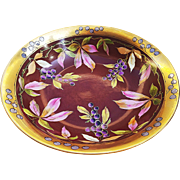 "Exceptional Vintage Limoges France & Julius Brauer Studio of Chicago 1905 Hand Painted ""Grapes"" 10"" Fruit Decor Bowl"