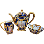 "Museum Quality Havilland & Co. France 1893 Hand Painted Scenic & Portrait Cobalt Blue 4-Pc Tea Set by French Artist, ""Nicol"""