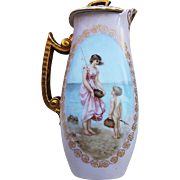 "Wonderful Vintage T & V Limoges France Pre-1900 Hand Painted ""Lady & Cherub"" Double Scenic 10"" Chocolate Pot by Artist, ""D.E."""