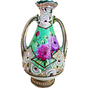 """Beautiful & Vibrant Nippon 1900's Hand Painted """"Deep Red Roses"""" 4-1/2"""" Floral Moriage Vase"""