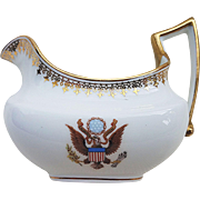 "T & V Limoges France 1900 Hand Painted ""Great Seal of the United States"" Scenic Cream Pitcher by the Washington DC National Remembrance Shop"