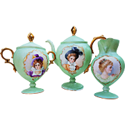 "Outstanding Limoges France 1900's Hand Painted Portraits Of ""Five Aristocratic French Ladies"" Scenic Pedestal Tea Set"