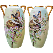 "Fabulous Royal Austria 1900's Hand Painted ""Robins Nesting in Apple Blossoms"" 16"" Vase by the Artist, ""I.E. Troy"""