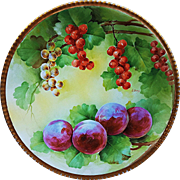 "Beautiful & Unusual Vintage Italian Ginori 1900's Hand Painted ""Red Currants & Purple Plums"" 8-3/4"" Fruit Decor Plate by the Artist, ""L. Pieri"""