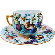 "Gorgeous MZ Austria Vintage 1900's Hand Painted ""Blackberry"" 2-Pc Cup & Saucer Fruit Decor Set by the Artist, ""L. Davis"""