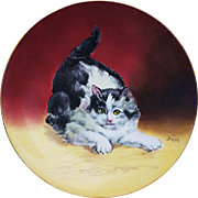 "Charming T & V Limoges France & Julius Brauer Studio of Chicago 1905 Hand Painted ""Black & White Cat"" 9-1/4"" Portrait Plate, by Listed Artist, ""Julius Brauer"""