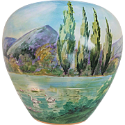 "Fabulous Osborne Studio of Chicago 1914 Hand Painted ""Swans on A Mountainous Lake"" Scenic Vase by Listed Artist, ""Asbjorn Osborne"""