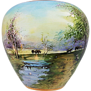 "Wonderful Osborne Studio of Chicago 1914 Hand Painted ""Cattle & Swans on A Woodland Lake"" Scenic Vase by Listed Artist, ""Asbjorn Osborne"""