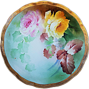 "Beautiful Vintage Ginori 1900's Hand Painted ""Pink & Yellow Roses"" 10"" Floral Plate by Artist, ""S. Barry"""