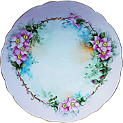 "Beautiful Vintage Bavaria 1900's Hand Painted ""Apple Blossoms"" 12-1/2"" Floral Plate by Artist, ""Thakla Buenger"""