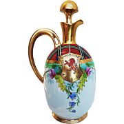 """Beautiful Scarce Pickard 1910 Hand Painted Scotch Decanter with Lion Crest & Mixed Flowers by Listed Artist, """"Arthur Passony"""""""