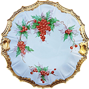 "Beautiful & Fancy Limoges 1900's Hand Painted "" Christmas Holly & Berry"" 10-3/8"" Scenic Plate by the Artist, ""Ruth A. Count"""