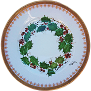 """Beautiful LS & S Limoges France 1900's Hand Painted """"Christmas Holly & Berry"""" Scenic Plate by Artist, """"P. Robis"""""""
