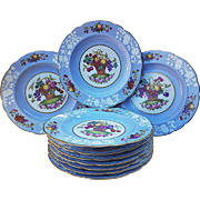 """Spectacular Mint Spode Copeland English Pre-1900 Hand Painted """"Standing Basket of Fruits"""" Set of 10 Matched Luncheon Plates"""