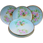 """Gorgeous Havilland France 1900's Hand Painted """"Pink Roses"""" Set of 5 Floral Plates"""