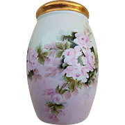 """Attractive MZ Austria 1900's Hand Painted """"Pink Roses"""" 4-3/4"""" Floral Sugar Shaker by the Artist, """"H. Bennett"""""""