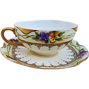 """Beautiful Havilland France 1906 Hand Painted Chain of """"Red, Purple, Yellow, & Brown Pansy"""" Floral Cup & Saucer Set by the Artist, """"F.D.W."""""""