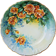 "Gorgeous Bavaria 1900's Hand Painted ""Deep Yellow Roses & Forget Me Not"" 12"" Floral Charger by Pickard Artist, ""Carl Koenig"""