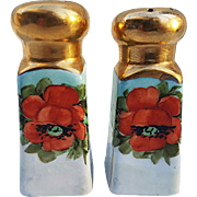 "Beautiful Bavaria 1900's Hand Painted ""Deep Burnt Orange Poppy"" 3-5/8"" Floral Pair of Salt & Pepper Shakers"